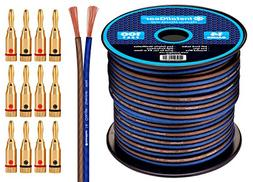 InstallGear 14 Gauge AWG 100ft Speaker Wire Cable with 12 Ba
