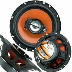 "2) Audiobank 6.5"" 600 Watt 3-Way Orange Car Audio Stereo Coa"