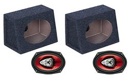 "2) NEW BOSS CH6930 6x9"" 400W Car Audio Speakers + 2) 6x9"" Sp"