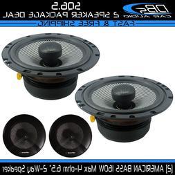 "2 American Bass SQ6.5 6.5"" 2-Way Fullrange Coaxial Car Audio"