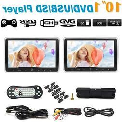 "2x 10.1"" Car Headrest Monitor DVD Player FM USB/HD/AV/SD Gam"