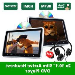 "2x10.1""LCD Screen Car Headrest TV Monitor DVD/USB/SD/HDMI Pl"