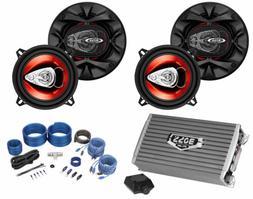 """Boss 5.25"""" 3-Way Car Audio Speakers+2-Channel Amplifier+Amp"""
