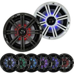 """2- Pair  With Multi Color LED Lights Kicker 6.5"""" 195W Marine"""