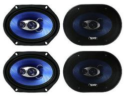"4) Pyle PL683BL 6x8"" 720 Watt 3-Way Car Coaxial Audio Speake"
