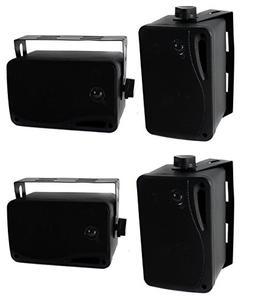 "4) Pyle PLMR24B 3.5"" 400 Watt 3-Way Weather Proof Mini Box S"