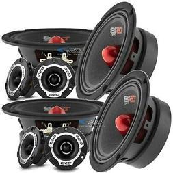"4 DS18 PRO-GM6B 6.5"" Car Audio Midrange Speaker 4 PRO-TW120"