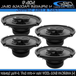 "4 American Bass SQ6.9 6x9"" 3-Way Fullrange Coaxial Car Audio"
