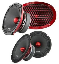 """4x DS18 6x9 + 6.5"""" Pro Car Audio Door Speaker Combo 2100 Wat"""