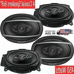 """4x Pioneer TS-A6960F 450 Watts 6"""" x 9"""" 4-Way Car Audio Coaxi"""