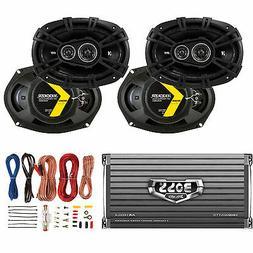 """Kicker 6x9"""" 360W Car Speakers  + Boss 1600W Amplifier + 8 Ga"""