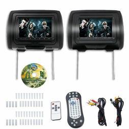 """7"""" Car Headrest Monitors DVD Player/USB/HDMI FM Speakers +Ga"""