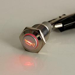 E Support 12V Car Auto Red LED Light Momentary Speaker Horn