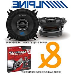 "Alpine S-S40 4"" 2-way Car Speakers  with Metra SSSK Door Dyn"