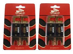 250 Amp ANL Fuses Gold Plated AudioPipe Blister Pack 4 Fuses
