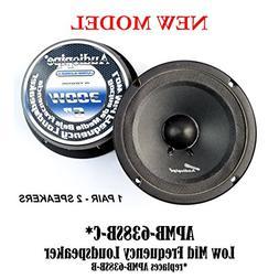 """Audiopipe APMB-638SB-B 1 Pair Speakers 6"""" Mid Range Loud Spe"""