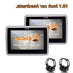 EinCar 10.1 inch Black Car Headrest Monitors with DVD Player