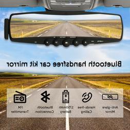 Bluetooth Car Kit Mirror Built-in Mic & Speakers FM transmit