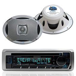 Kenwood Bluetooth USB CD iPod Radio, 2-Lanzar 6x9 500W White