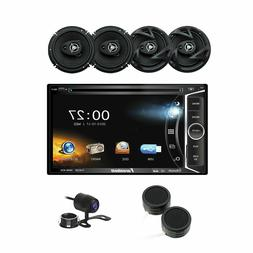 """Car Audio Bundle with DVD Multimedia Stereo, 6.5"""" 3-Way Sp"""