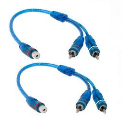 Car Audio RCA Female to 2 RCA Male Splitter Adapter Cable Wi