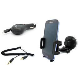 Premium Car Mount Phone Holder + Retractable Micro USB Auto
