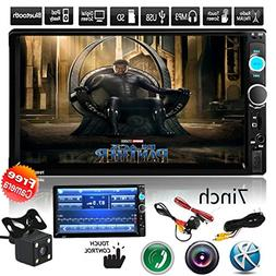 "Car Rear View Camera + Cavogin 7"" inch Double Din Touchscree"