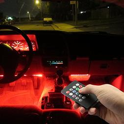 Car LED Strip Lights, Top Notch 4 Pieces Multi-Color Car RGB