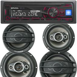 ALPINE CDE-150E SINGLE DIN CAR STEREO CD PLAYER USB +4x SPEA
