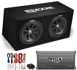 "Kicker DC122 Dual 12"" 600W Car Audio Subwoofers + Box + Boss"