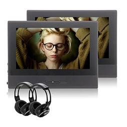 2x Headsets 8 Inch Dual Screen Car DVD Player with 1280x720