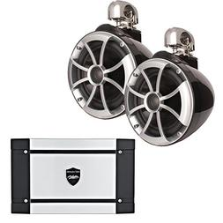 """Wet Sounds ICON8-BSC 8"""" Black Swivel Clamp Tower Speakers HT"""
