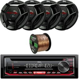 "KD-R480 CD USB Car AUX Stereo, 4 JVC 6.5"" 2-Way 300W Speaker"