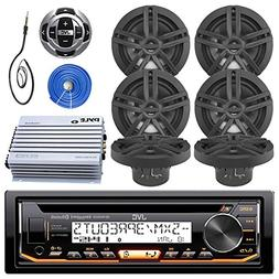 JVC Marine Stereo Receiver Bundle Kit with Remote Control, 6