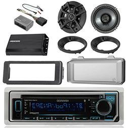 Kenwood Bluetooth CD AM/FM Marine Stereo, 2x Kicker 600W 6-1