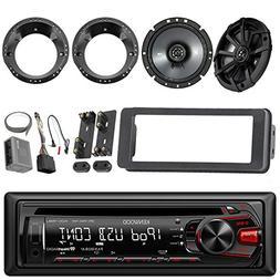 Kenwood CD Player USB/AUX Car Stereo Receiver, 2 X Kicker 43