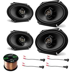 4X Kenwood 6x8 250W 2-Way Sport Series Black Car Audio Coaxi