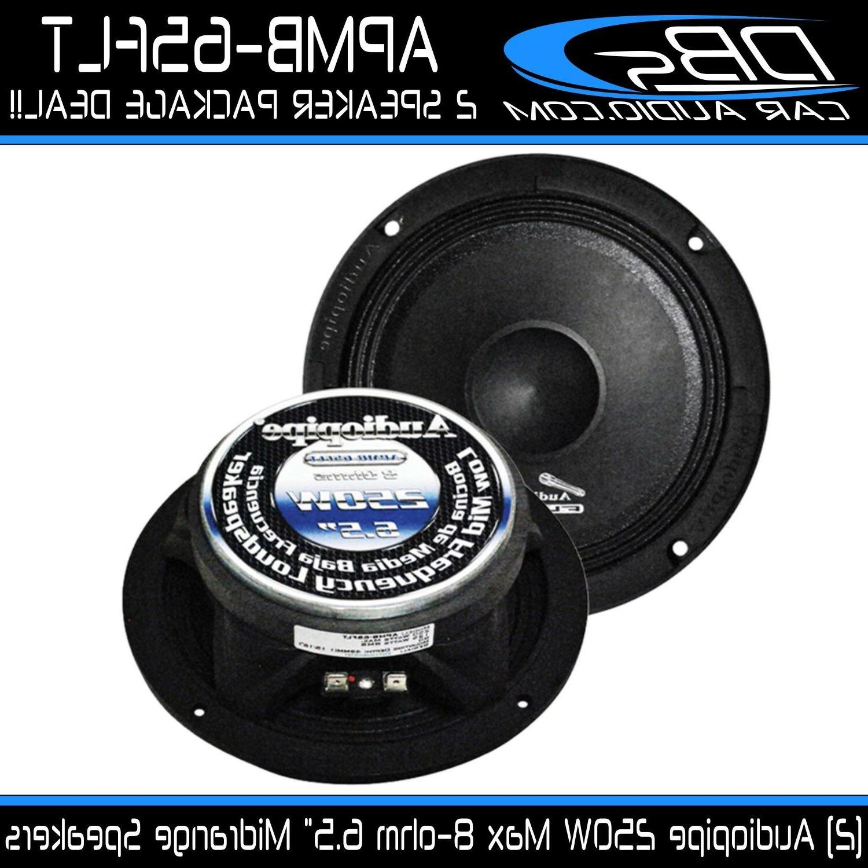 "2 Audiopipe APMB-65FLT 6.5"" Slim Midrange Speaker 500W 8-ohm"