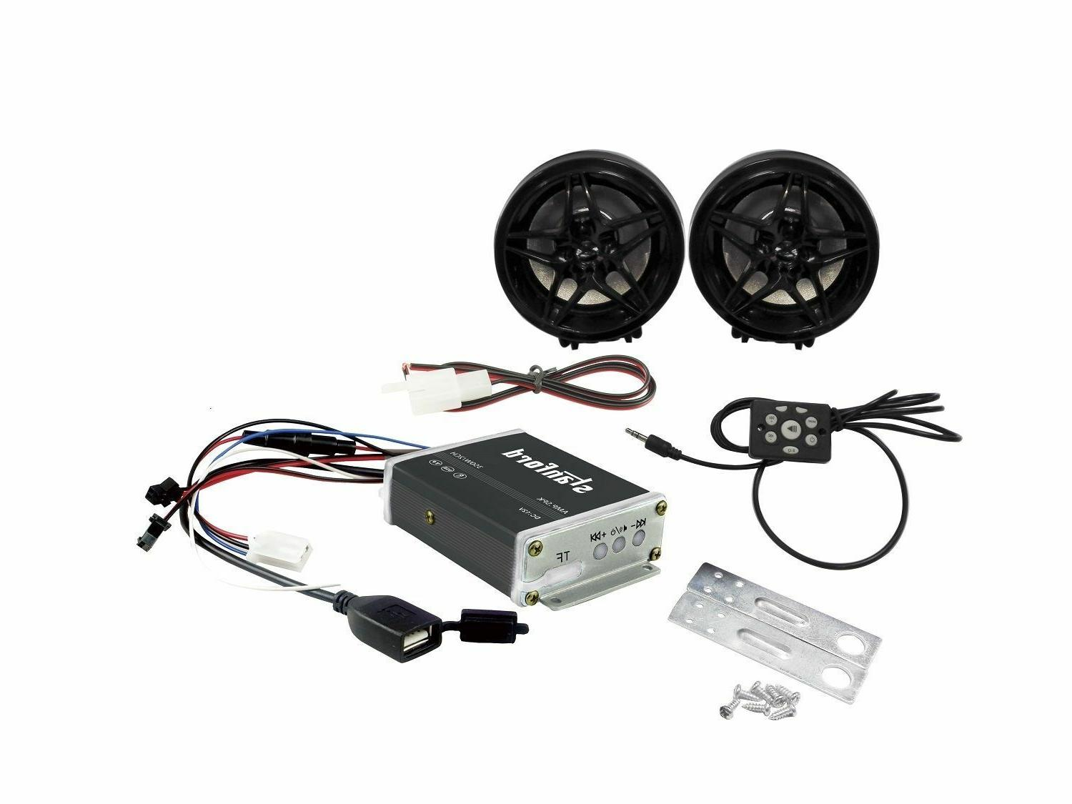 350W MOTORCYCLE ATV SCOOTER CAR AMPLIFIER MP3 SD FM SPEAKERS