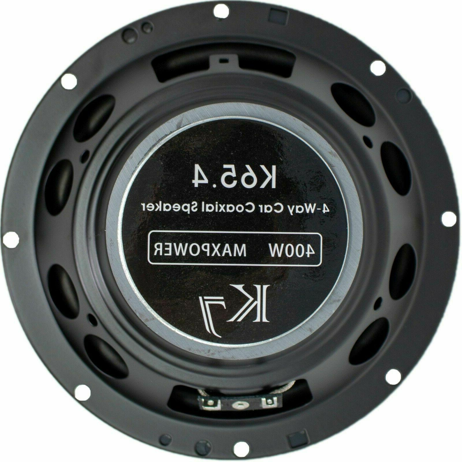 """6.5"""" 400 4-Way Audio Stereo Coaxial Speakers - K654"""