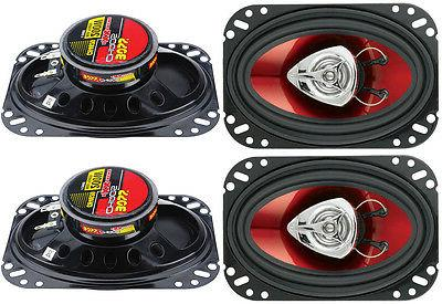 "4) BOSS 4x6"" 400W 2-Way Audio Coaxial Speakers Stereo Red"