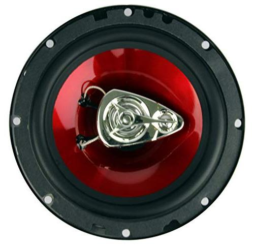 "4) BOSS 6.5"" 3-Way 600W Audio Stereo Red"
