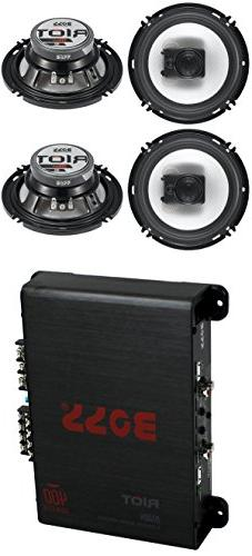 "4) Boss R63 6.5"" 300W 3 Way Coaxial Speakers +R1004 400W 4 C"