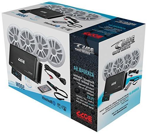 BOSS 500 Watt Amplifier Inch Speaker System, Bluetooth Remote, Mount, Waterproof