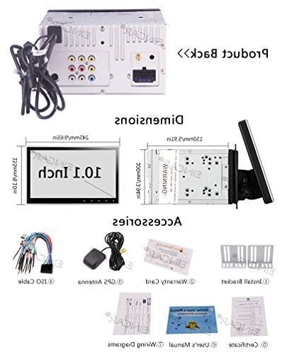 Eincar Car Player - 7.1 Radio Dash 10.1 Inch Double 2 DIN Car Audio car Player WiFi FM Bluetooth, WiFi, Free Rear Camera