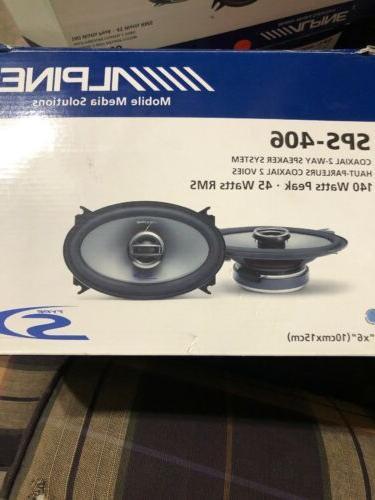 Alpine car speakers SPS 406 2 way 140 watt new in box