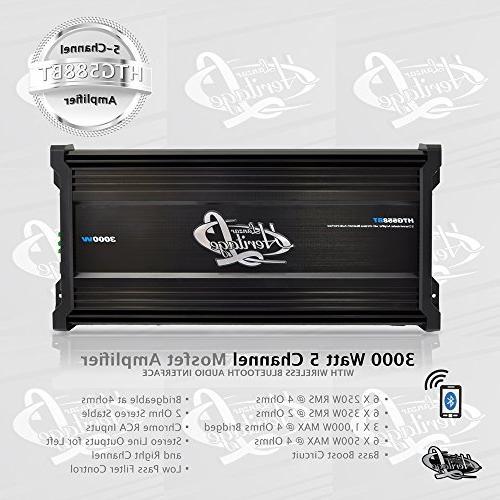 Lanzar Car 3,000 Watt, 5 2 Bridgeable 4 Ohm, RCA Input, Bass Boost, Mobile Amplifier Car Speakers, Car Bluetooth