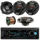 "Kenwood Bluetooth USB AUX Car Receiver, 5.25"" JVC 2-Way Spea"