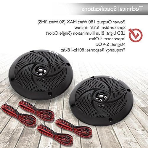 Pyle Marine 5.25 Inch Waterproof Outdoor Audio System LED 180 Watt Low Slim - PLMRS53BL