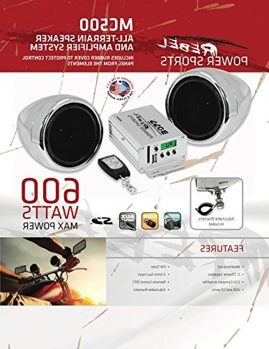 BOSS Audio All-Terrain, Weatherproof Sound 3 Inch Speakers, Compact Amplifier, Multi-Function Remote For Motorcycles/ATV and Volt